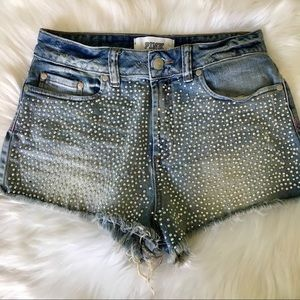Pink VS High Waisted Cut Off Shorts w/Rhinestones
